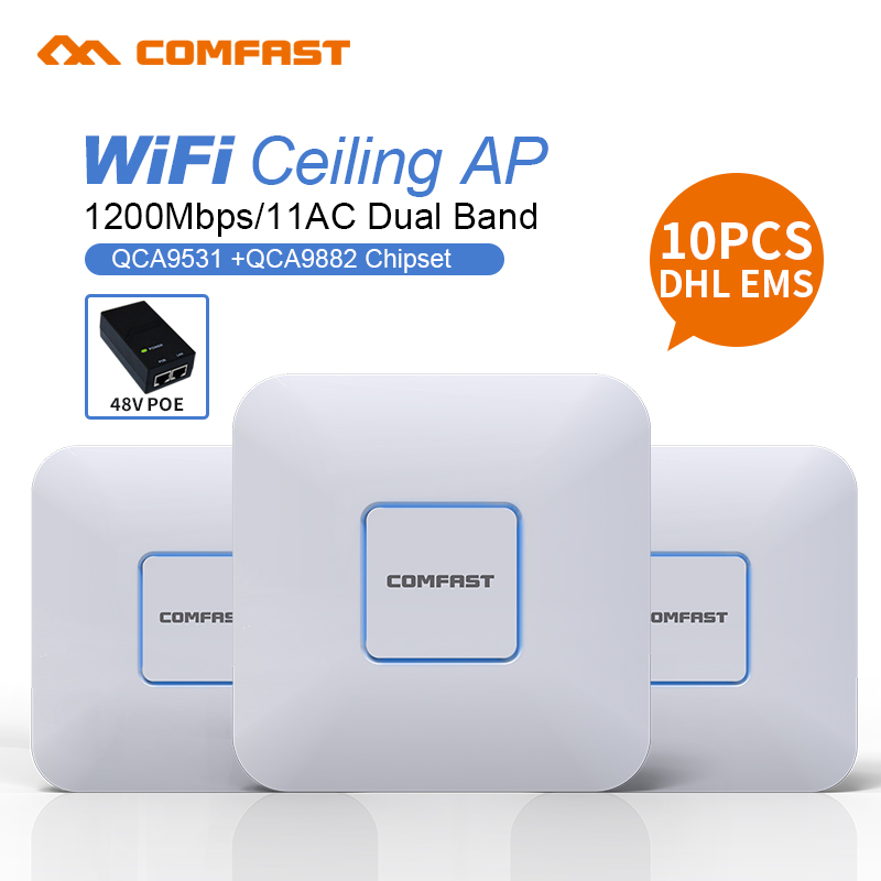 10pcs DHL Comfast 1200Mbps Dual Band Wireless wifi router 2.4G+5.8G Wifi access point 48V support openWRT ddwrt extender wi-fi
