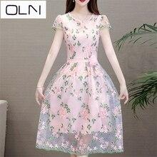 Dress Summer Vestidos Korean OLN Long-sleeved summer A-line dress in mesh plus size L-4XL