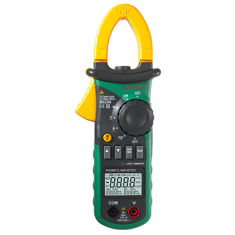 Mastech MS2208 Harmonic Power Clamp Meter Tester Multimeter Trms Voltage Current Power Phase Angle Test
