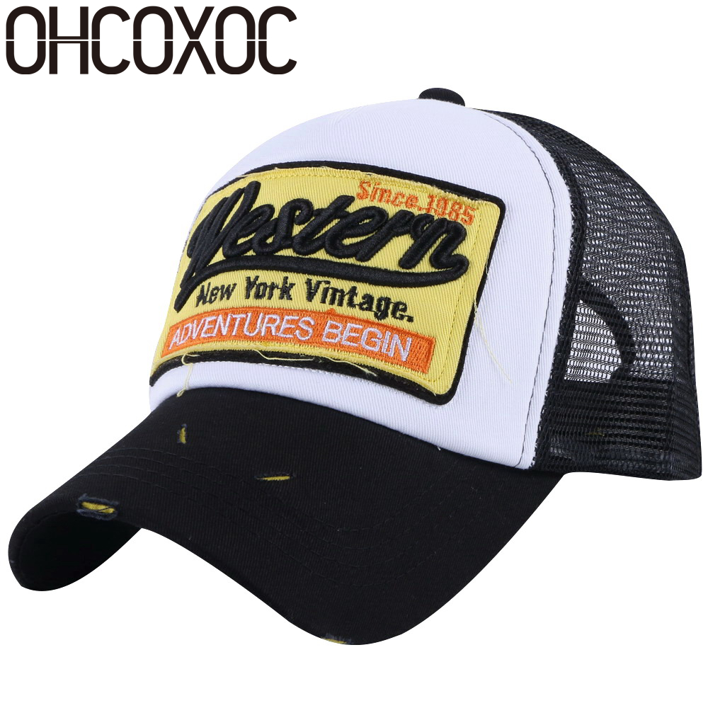 OHCOXOC women men fashion summer baseball cap embroidery letter style high quality mesh cool hats unisex woman man casual caps hters hiphop fashion letter hats gorros bonnets cocain