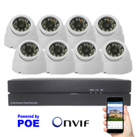 1080P POE Security Camera System 8ch HDMI Video POE NVR And 2 0mp Indoor Dome Night