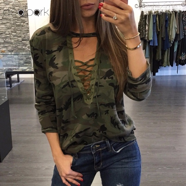 2019 Camisetas Mujer Fashion Women Camouflage Long Sleeve T-Shirt Lace Up Neck Cross Printed Sexy Slim T-Shirt Tops Army Green