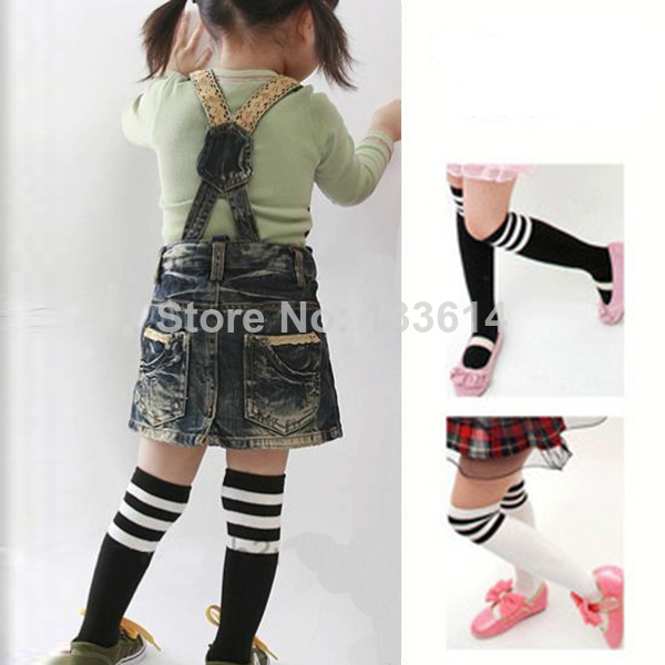 Buy Hot Selling! 2-7Y Kid Girls Cotton Stripes Socks School High Knee Stock Pantyhose Free Shipping & Drop Shipping