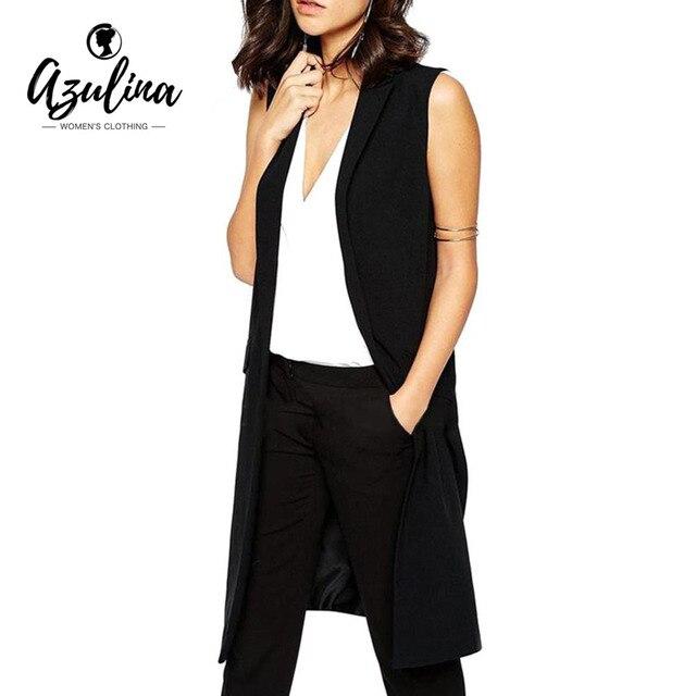 Azulina блейзер без рукавов жилет 2017 Демисезонный Длинный жилет женский Для женщин верхняя одежда длинная куртка карман пальто черный