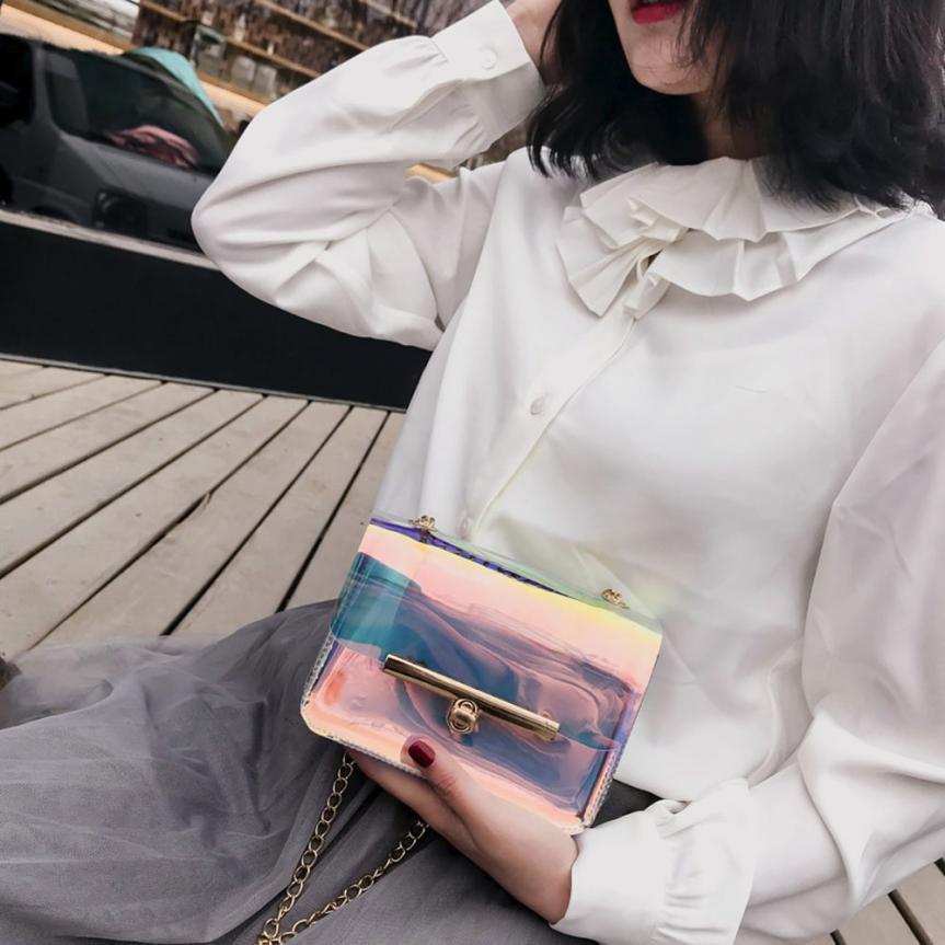 Женская Мода Прозрачные лазерной цепи сумка через плечо ms. однотонная одежда застежкой небольшой площади сумка # W