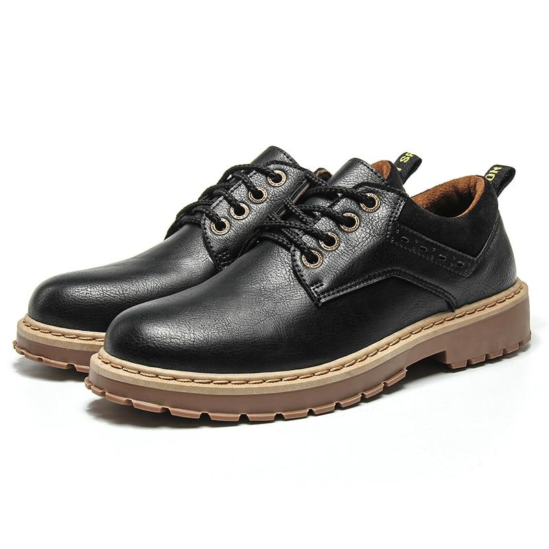 gray Brown En Noir Black Confortable Homme Urbain 2018 Automne Hommes Chaussures brown D'hiver Cuir dark pxZq7F
