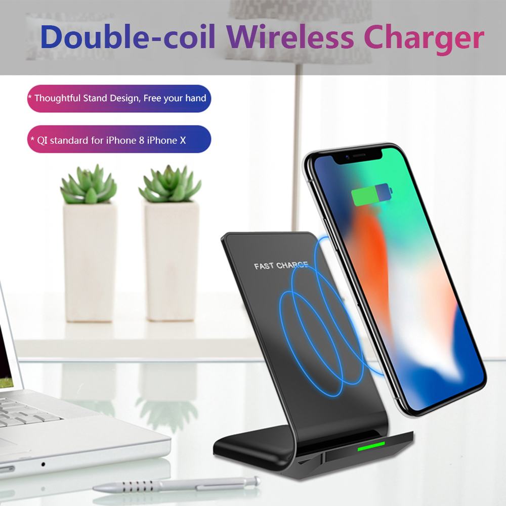 Fast Wireless Charger Double Coils For iPhone 8 X QI Phone