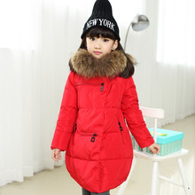 Girl Duck down Coats 2016 Girls Winter Jackets Fashion Hooded Thick Warm Winter Jacket For Girls 6 7 8 9 10 11 12 13 14 years