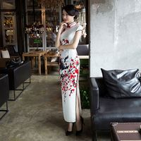 Priting Red Flower Cheongsam White Long Qipao Women Chinese Traditional Dress Oriental Style Dresses China Clothing Store