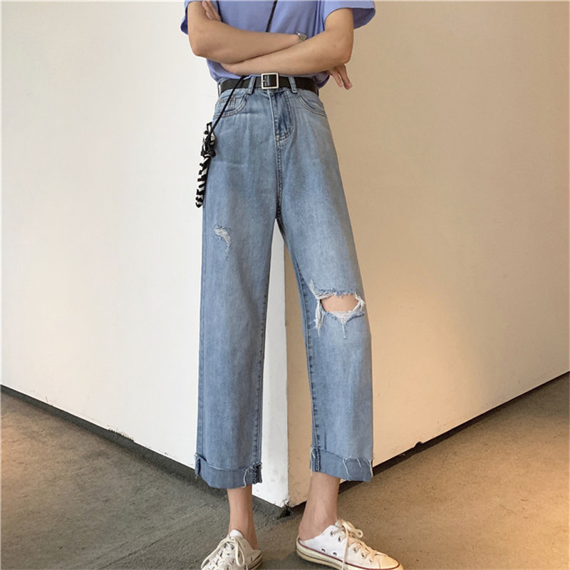 HziriP Hole Female Loose New Arrival Summer Women Jeans All Match Denim High Waist 2019 Straight Ankle Length Blue Trousers