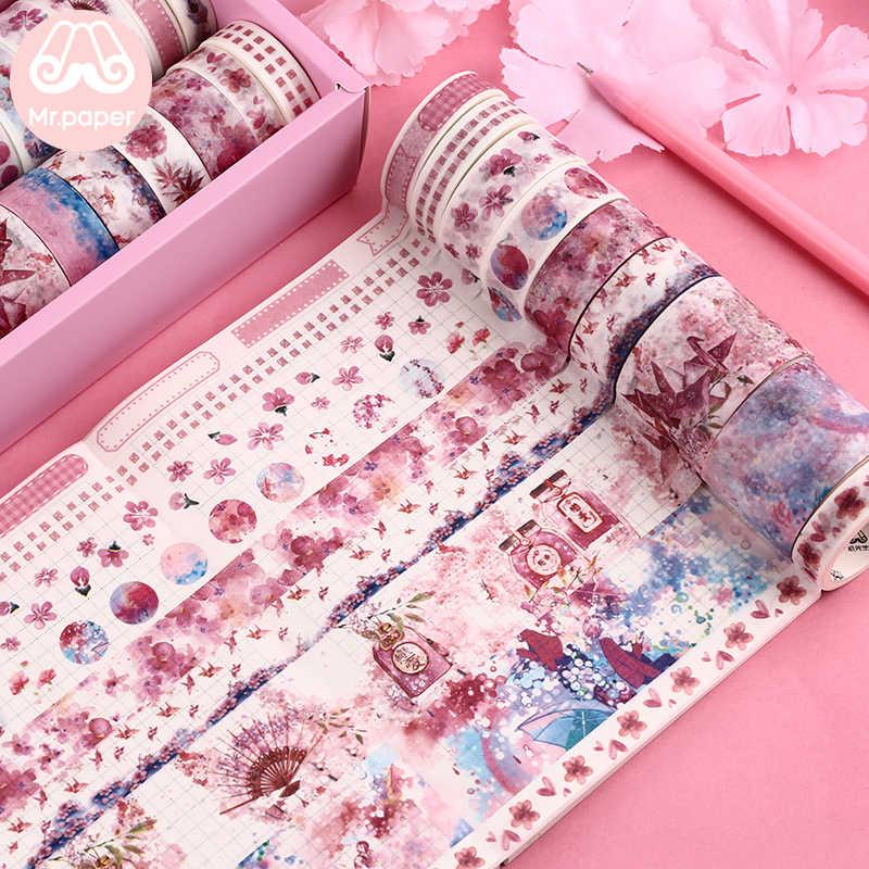 El Sr. Papel 16 + 8 piezas de paquete de regalo etiqueta cinta de Washi de Kawaii Ocean Star bosque Sakura postre pegatinas Scrapbooking cintas de enmascarar