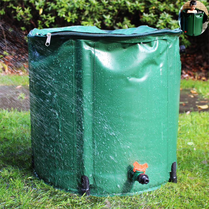 98L Rain Barrel Collapsible Rainwater Harvest Water Tank Garden Strong PVC Foldable Collection Tank Container With Runoff