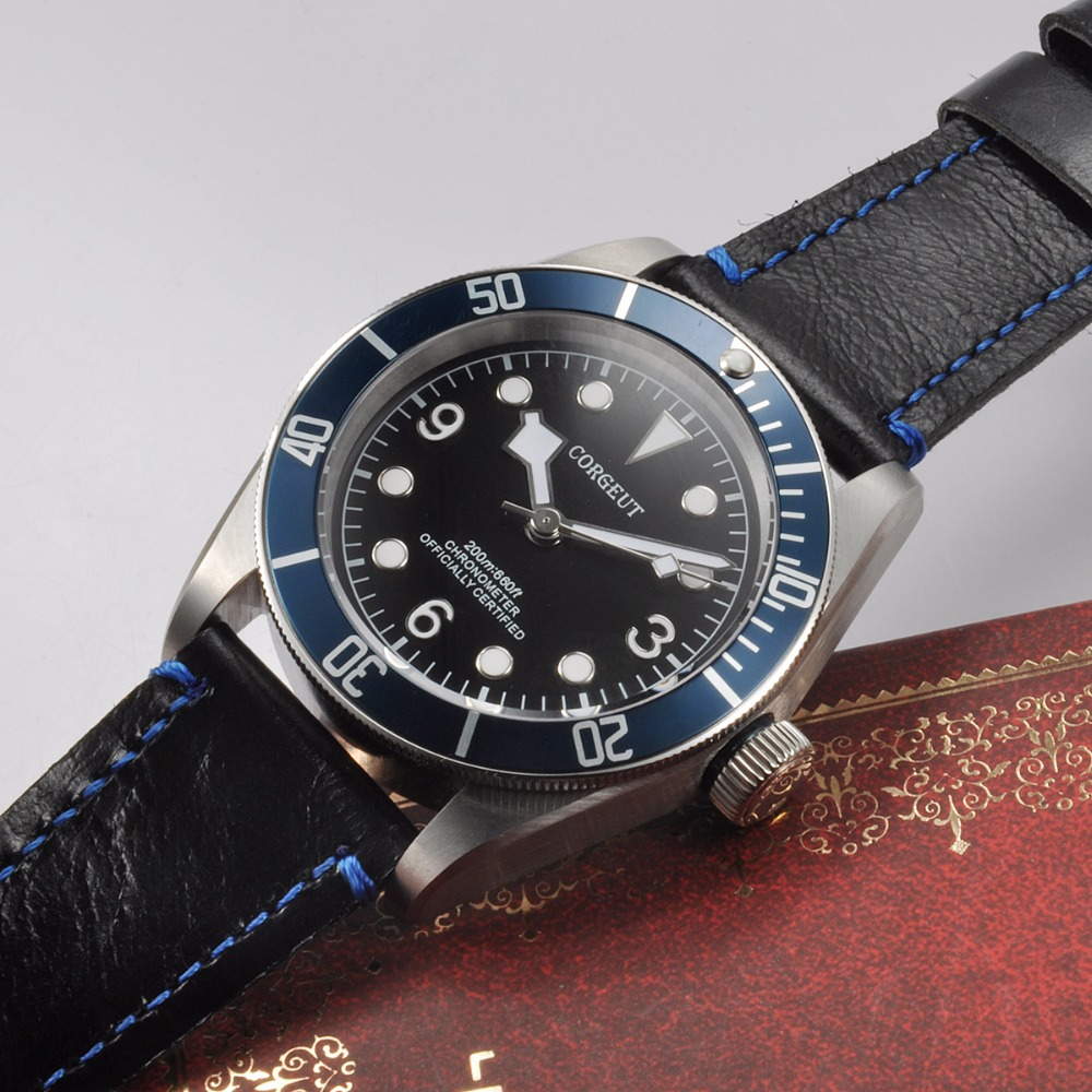 Corgeut 41mm Sapphire Glass Blue Bezel black dial leather strap miyota Automatic wrist watch Luminous men water resistant Watch  41mm corgeut black dial red bezel 21 jewels miyota automatic diving mens watch
