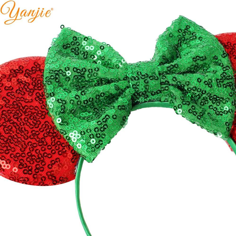 aliexpresscom buy trendy redgreen 2018 christmas headband for girls kids sequin bow minnie ears hair band glitter festival party hair accessories from