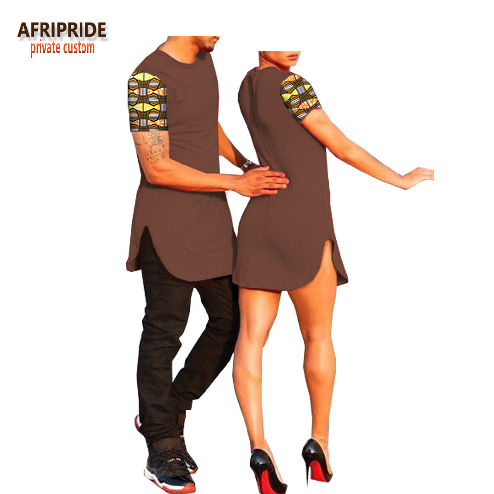 2018 summer african pattern couple clothes AFRIPRIDE short sleeve o neck men s T shirt women