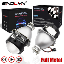 SINOLYN Upgrade Full Metal 2.5 HID Bi xenon Lens Projector Headlight Headlamp Lenses Glasses H4 H7,Use H1 Xenon Bulb Car Styling