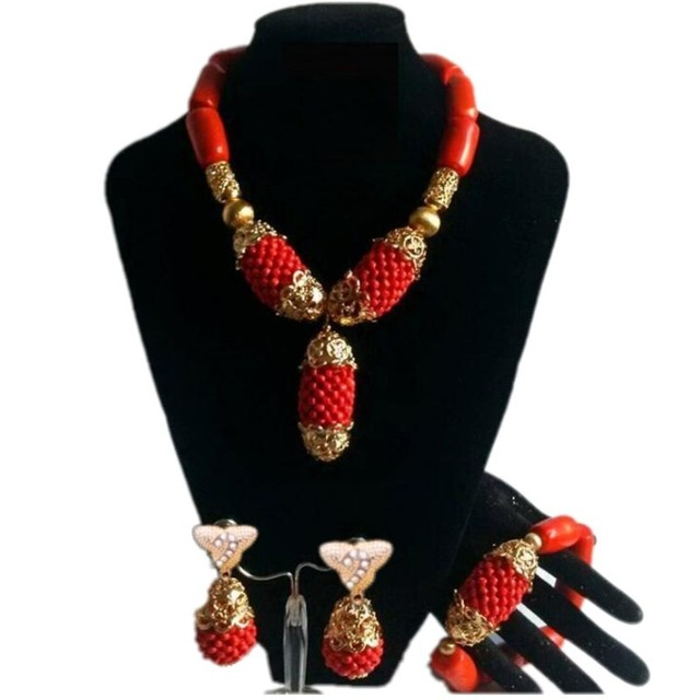 Chunky Original Coral Beads Nigerian Wedding African Jewelry Sets Orange Wedding Bold Necklace Set For Women Free Shipping 2018