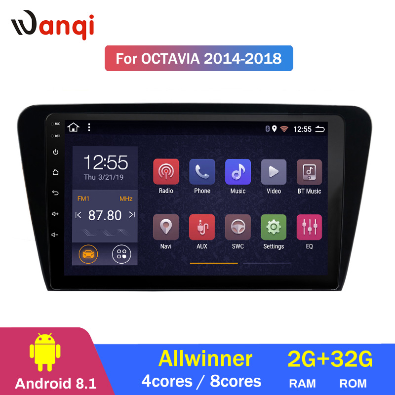 Lecteur multimédia dvd gps de voiture Android 8.1 pour SKODA Octavia 2013-2018 A7 lecteur Audio vidéo radio de navigation dvd de voiture