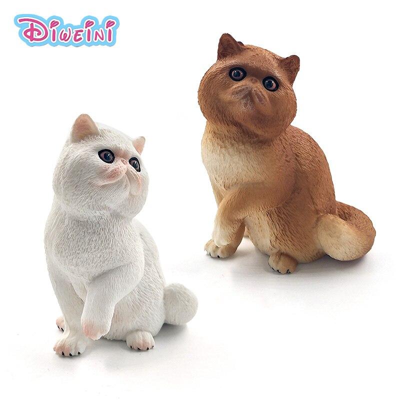 Cute Simulation Animal Model Artificial Persian Cat Figure Fairy Garden Plastic Decoration Educational Statue Toys For Children