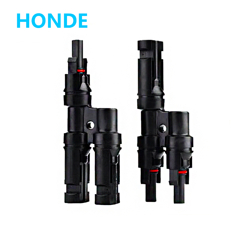1Pair x Multi T Branch MC4 Connector for solar panel parallel connection branch two pv module panel connect solar system 1 pair ip67 pv t type connector mc4 solar connector t branch connector male