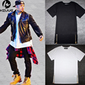 chris brown men extended golden zipper side men t-shirt cotton solid men's tops hip hop white black tees plus size M/L/XL/XXL