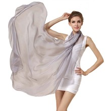 Ladies Brand Grey Mulberry Silk Scarf Shawl 180*110cm Oversi