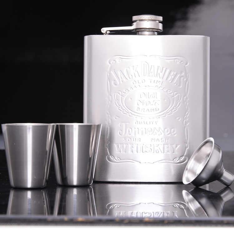 ステンレス鋼ヒップフラスコフラスコ用酒ギフトセットでボーナス漏斗&ショットグラス&ギフトボックス(00251)