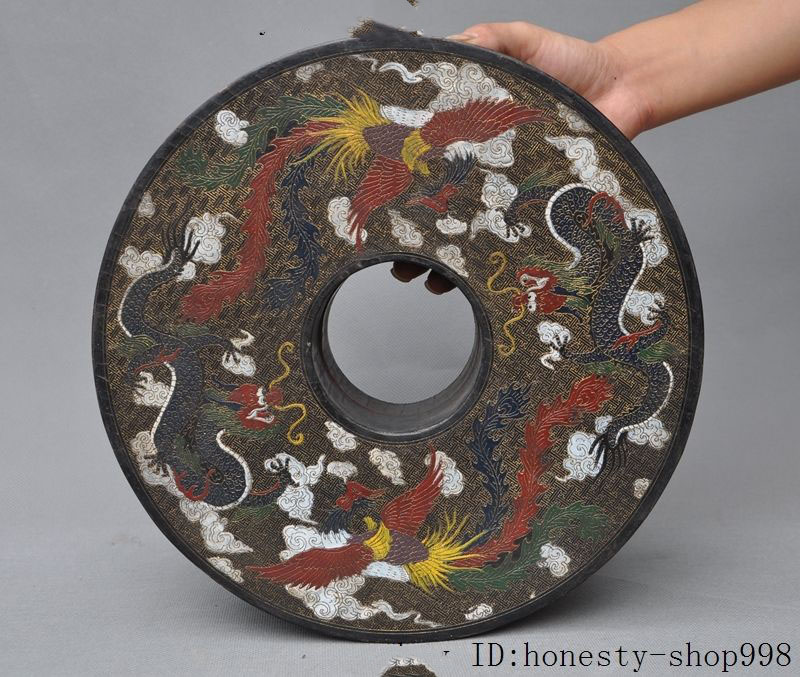 Old Chinese Wood lacquerware Carved dragon phoenix Jewel case Jewelry box boxes
