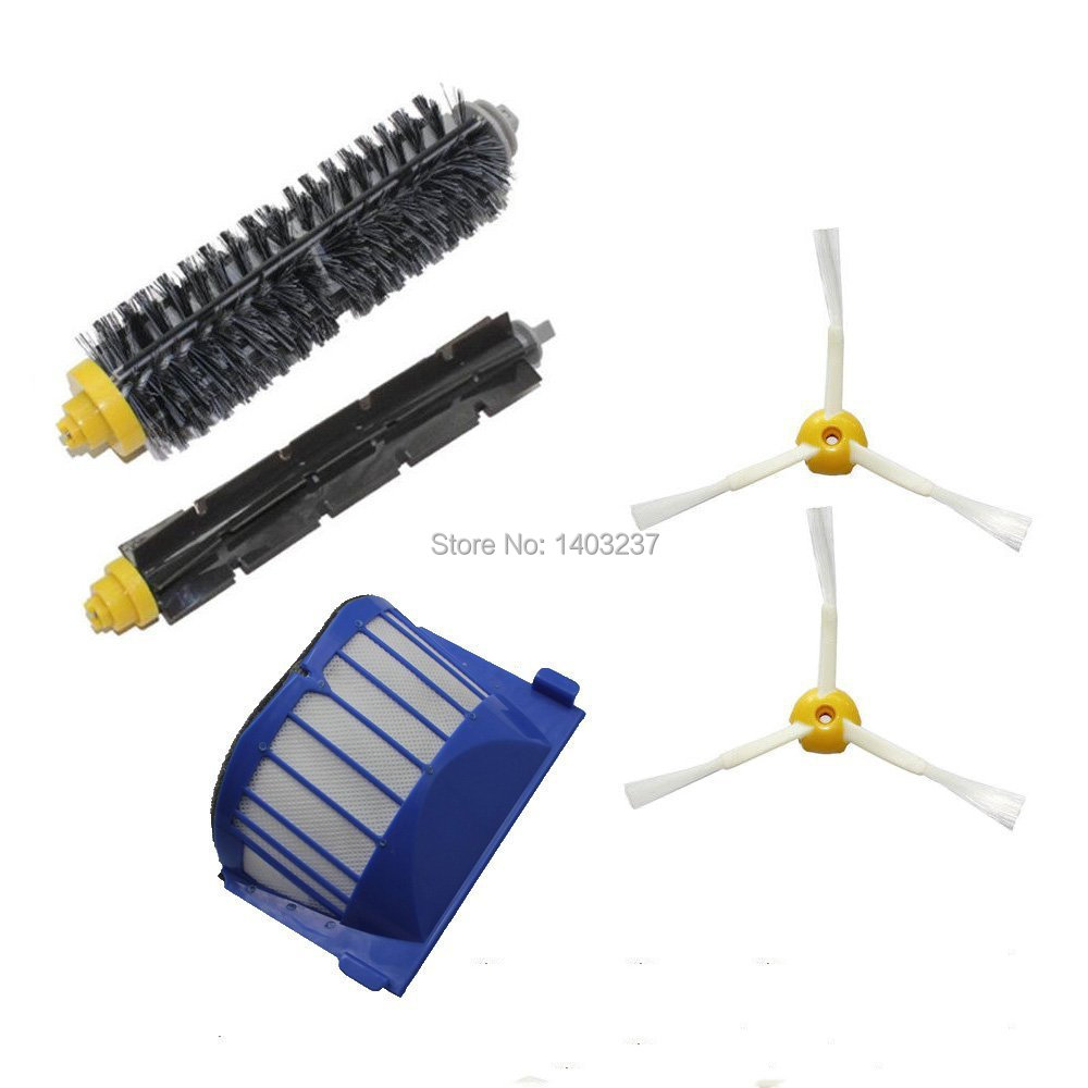 Aero Vac Filter Bristle Brush Flexible Beater Brush 2 x 3-Armed Side Brush for iRobot Roomba 600 Series (620 630 650 660 680) aero vac filter bristle brush flexible beater brush 3 armed side brush tool for irobot roomba 600 series 620 630 650 660