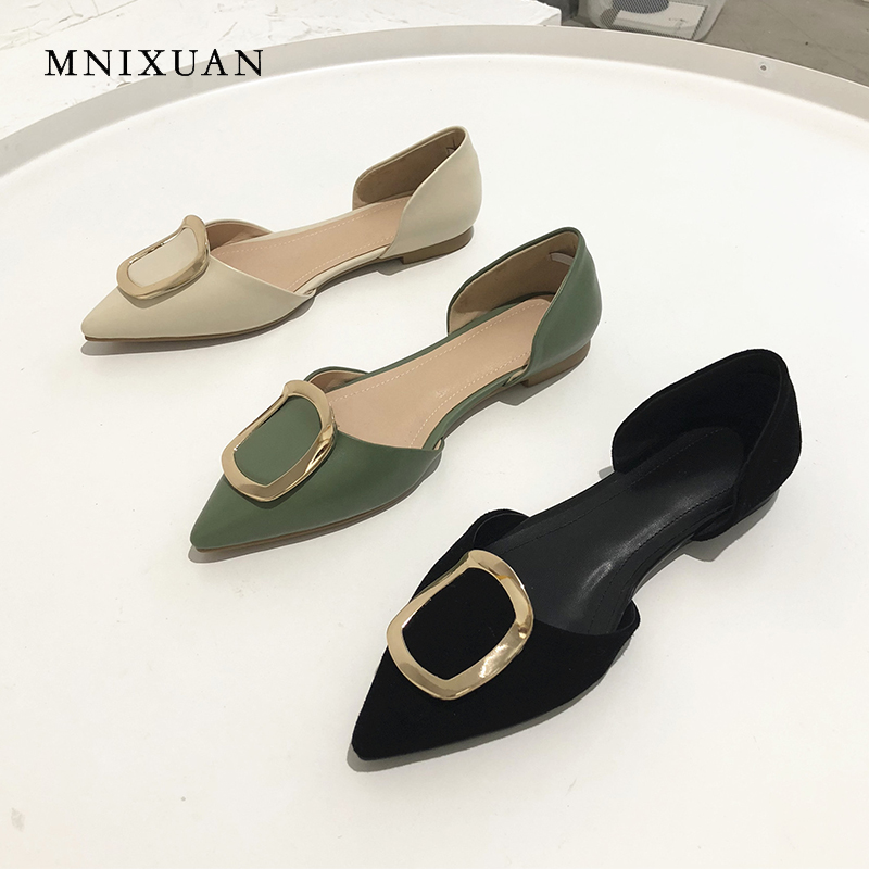 MNIXUAN New arrival 2019 new sping summer women flat sandals shoes covered pointed toe   leather     suede   elegant slip on boat shoes