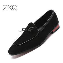 2019 Gentlemen Bowknot Wedding Dress Male Flats Casual Slip On Shoes Black Suede Leather Loafers Men Formal