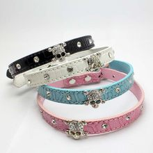 Bling Pet Dog Collars Pu Leather skull Rhinestone Pet Puppy Cat Fashion  Necklace Dog Leads And b8644a016b64