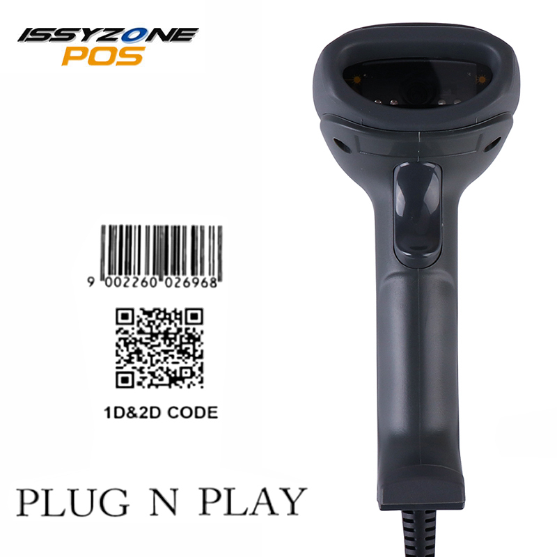 ISSYZONEPOS 1D 2D QR Barcode Scanner Laser Handheld Barcode Reader for POS System Supermarket handheld laser wireless bluethooth barcode scanner 1d 2d handheld qr barcode bar code scanner reader for pos system supermarket