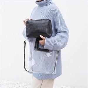 Image 3 - Женская прозрачная сумка желе из ПВХ, водонепроницаемая пляжная сумка тоут под крокодила, лето 2019
