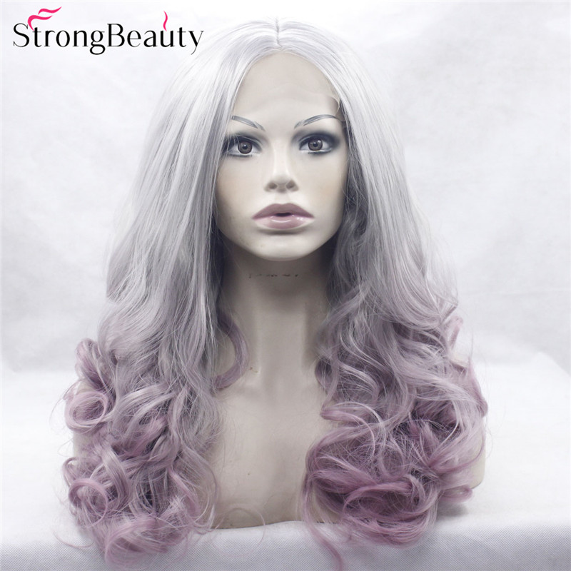 Strongbeauty Long Curly Grey Wig Synthetic Ombre Silver to Pink Purple Lace Front Two Tone Wig