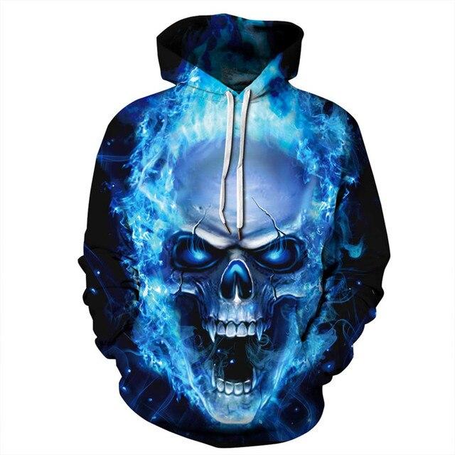 d1f34abb6 ALMOSUN Skull Fire 3D All Over Printed Hoodies Pockets Sweatshirt Hipster  Hip Hop Streetwear Women Men Clothing EU Size
