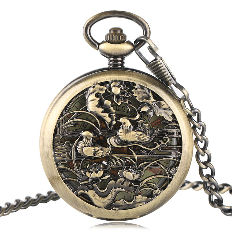 Vintage Automatic Mechanical Man Watches Carving Mandarin Duck Luxury Pocket Watch Trendy Unisex Gift Bronze Pendant Chain Clock