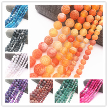 Wholesale 6/8/10mm Frost Cracked Dream Fire Dragon Veins Round Loose Beads For Jewelry Making 15 Diy Bracelet &Necklace