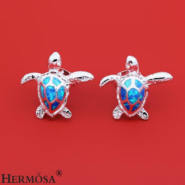 Женские серьги гвоздики hermosa вечерние с голубым огненным