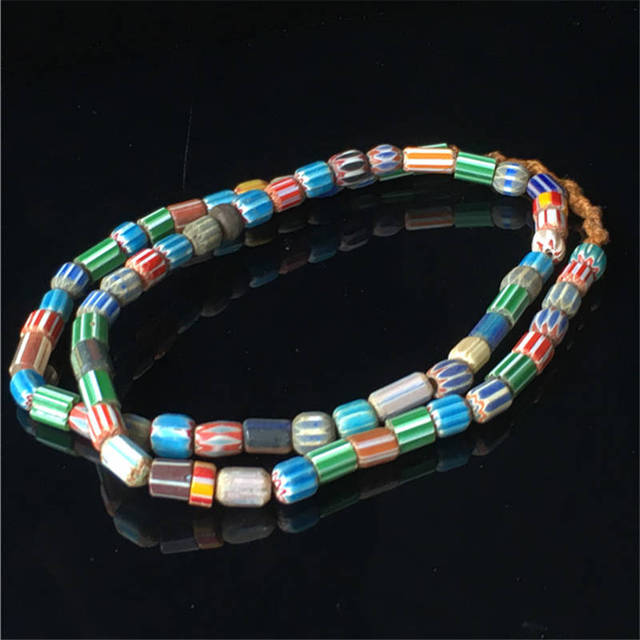 TSB0353 Nepal Handmade Colorful Ancient Glass Beaded Necklace Strands Simulated Trade Beads Multi Colors