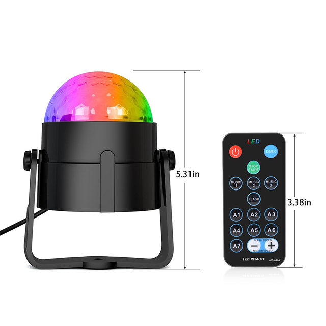 Sound Activated Rotating Disco Ball Party Lights Strobe Light 3W RGB LED Stage Lights For Christmas Home KTV Xmas Wedding Show 1