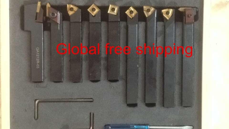 turning tool 12mm 9pcs/set indexable carbide turnnig tools цена 2017