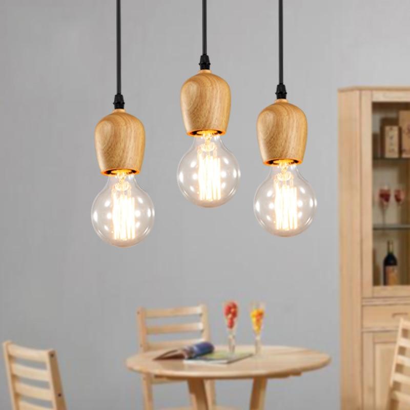Ժամանակակից փայտի կախազարդ լույսեր Vintage Cord կախազարդ լամպ Կախովի լամպ Խոհանոցային թեթև հարմարանք Սև մետաղալար կախոցային լուսատու