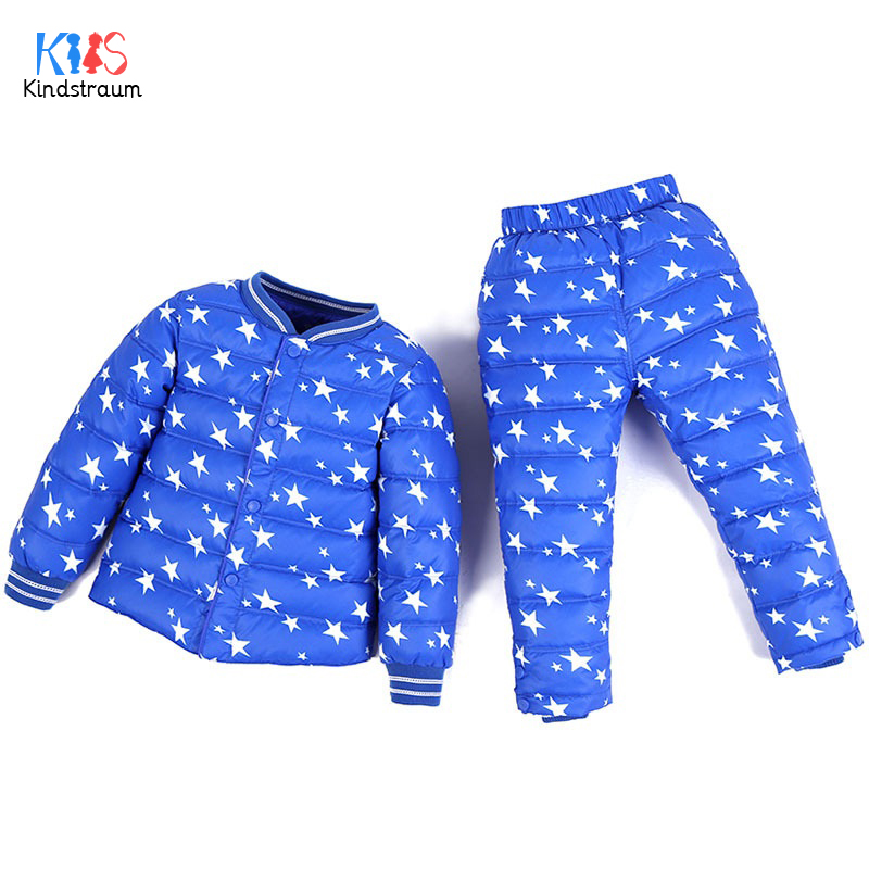 Kindstraum 2018 Winter Kids Print Stars Suits Children Duck Down Coats + Trouesrs Brand Bottons Sets for Boys & Girls,RC1668 цены онлайн
