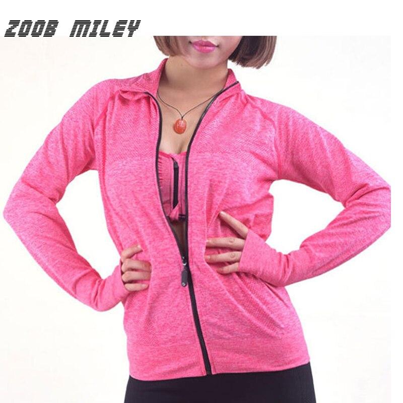 US $17.16 43% OFF ZOOB MILEY Laufjacke Frauen Lange Hülsen reißverschluss Gym Sport Fitness Jacke Damen Outdoor Training Training Laufen Hoodies in