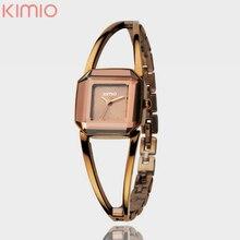 Marca de fábrica de Kimio Reloj de Señora Cuadrada Cubierta De Cristal Del Encanto Pulsera de Las Mujeres Relojes Reloj de Vestir Informal