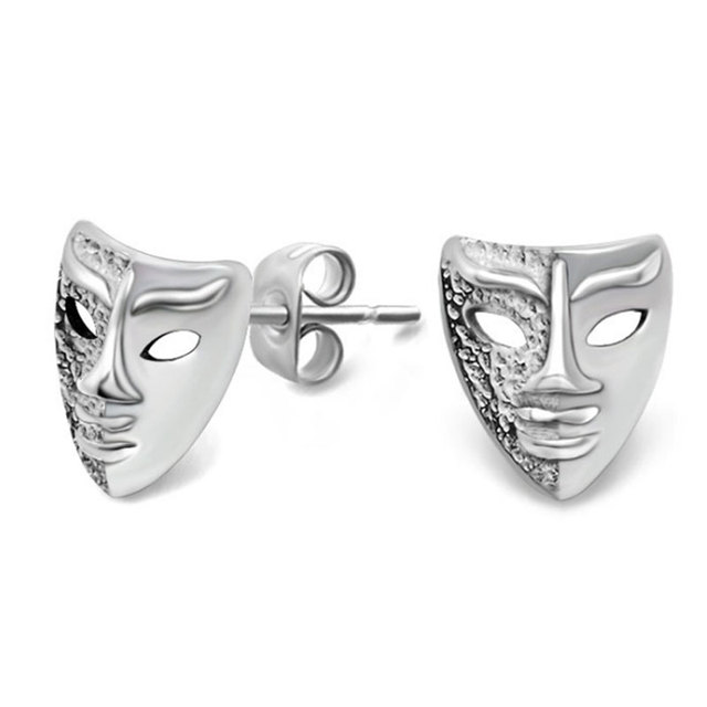 Drama Mask Stud Earrings Stainless Steel Cool Men Women Punk Rock Comedy Tragedy Vintage Actor