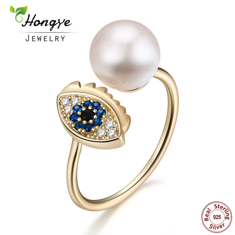 Hongye 2018 Real Natural sötvattenspärlor Fingerringar 925 Sterling Silver Evil Eye Open Ring För Kvinnor Men Vintage Ring