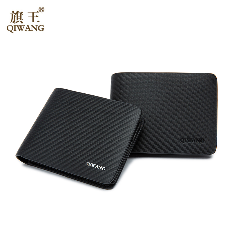 QIWANG Leather Men Wallet Carbon Genuine Leather Wallets Office Man Business Slim Wallets Purse New Rfid Wallet for Man Large цена