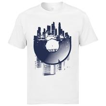 Classic Street T-Shirts London Urban Vinyl Records Architectural Style Print Mens T Shirts Hip Hop Jazz Music Country Tshirts